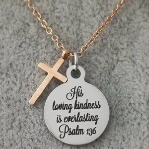Rose Gold Christian Bible Verse Scripture Necklace